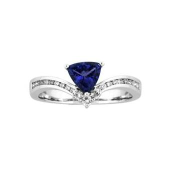 14k White Gold .21ctw Diamond .60ct Tanzanite Ring