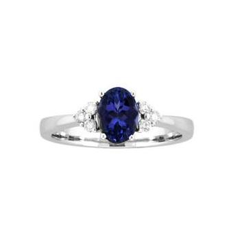14k White Gold .35ctw Diamond 1.30ct Tanzanite Ring