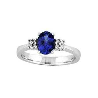 14k White Gold .08ctw Diamond 1.15ct Tanzanite Ring