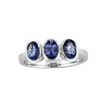 14k White Gold .06ctw Diamond 1.65ct Tanzanite Ring