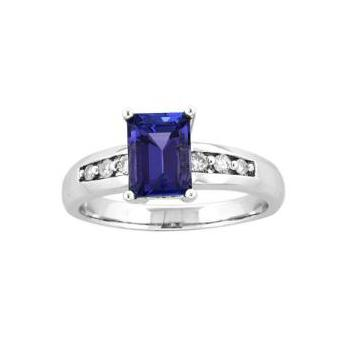 14k White Gold .12ctw Diamond 1.50ct Tanzanite Ring