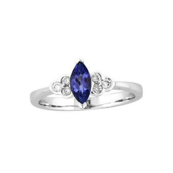 14k White Gold .13ctw Diamond .45ct Tanzanite Ring