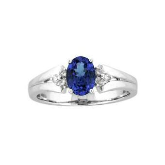14k White Gold .12ctw Diamond .95ct Tanzanite Ring