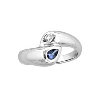 14k White Gold .13ctw Diamond .75ct Tanzanite Ring