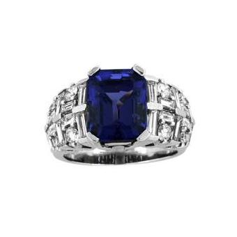 14k White Gold 2ctw Diamond 3.6ct Tanzanite Ring