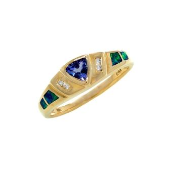 14k Yellow Gold .04ctw Diamond .35ct Tanzanite Ring