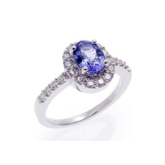 14k White Gold .59ctw Diamond 1.15ct Tanzanite Ring