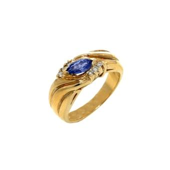 14k Yellow Gold .1ctw Diamond .45ct Tanzanite Ring