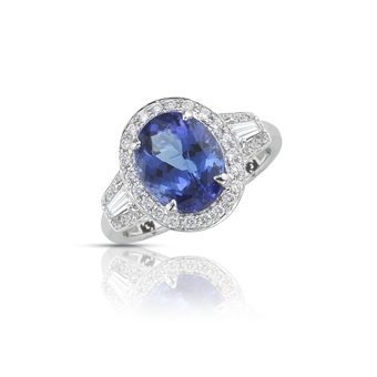 18k White Gold .80ctw Diamond 3.65ct Tanzanite Ring