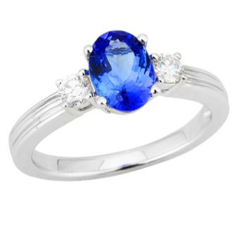 14k White Gold .23ctw Diamond 1.30ct Tanzanite Ring