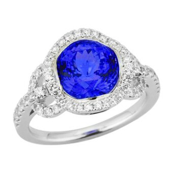 14k White Gold .57ctw Diamond 3ct Tanzanite Ring