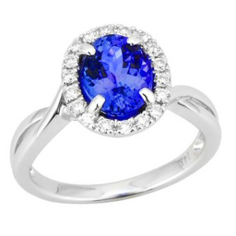 14k White Gold .24ctw Diamond 2ct Tanzanite Ring