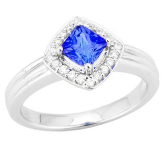 14k White Gold .14ctw Diamond .70ct Tanzanite Ring