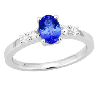 14k White Gold .21ctw Diamond .95ct Tanzanite Ring