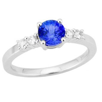 14k White Gold .21ctw Diamond .90ct Tanzanite Ring