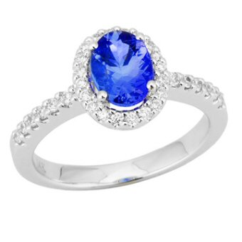 14k White Gold .31ctw Diamond 1.30ct Tanzanite Ring