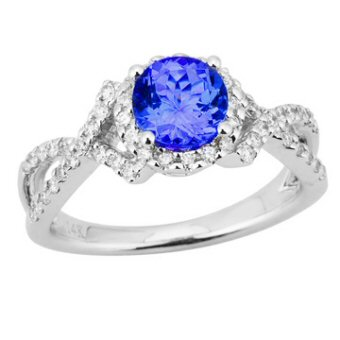 14k White Gold .38ctw Diamond 1ct Tanzanite Ring
