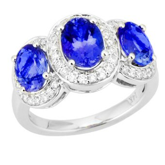 14k White Gold .36ctw Diamond 3.20ct Tanzanite Ring