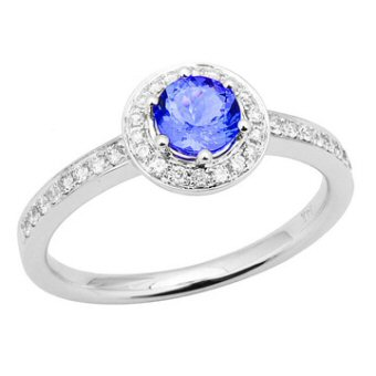 14k White Gold .22ctw Diamond .55ct Tanzanite Ring