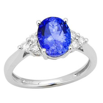 14k White Gold .28ctw Diamond 2ct Tanzanite Ring