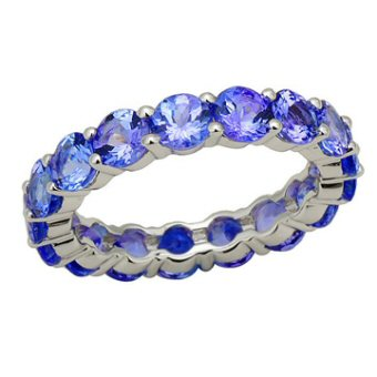 14k White Gold 4.42ct Tanzanite Eternity Ring