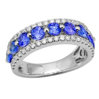 14k White Gold .50ctw Diamond 1.80ct Tanzanite Ring