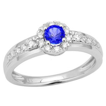 14k White Gold, .24ct Diamond, .26ct Tanzanite Ring