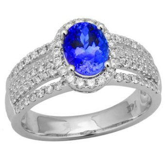 14k White Gold .62ctw Diamond 1.30ct Tanzanite Ring