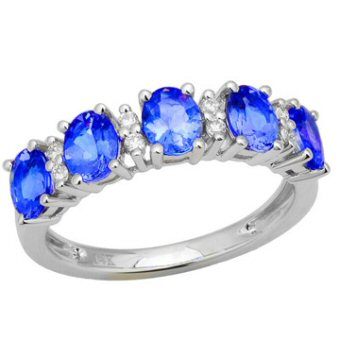 14k White Gold .10ctw Diamond 2.25ct Tanzanite Ring