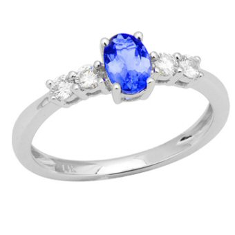 14k White Gold .21ctw Diamond .55ct Tanzanite Ring