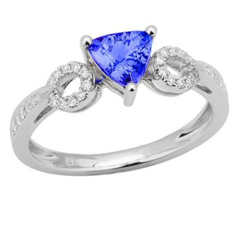 14k White Gold .14ctw Diamond .75ct Tanzanite Ring