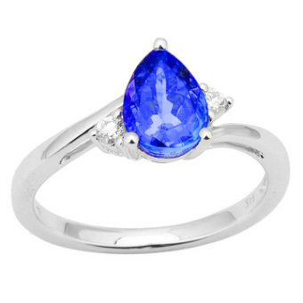 14k White Gold .08ctw Diamond 1ct Tanzanite Ring