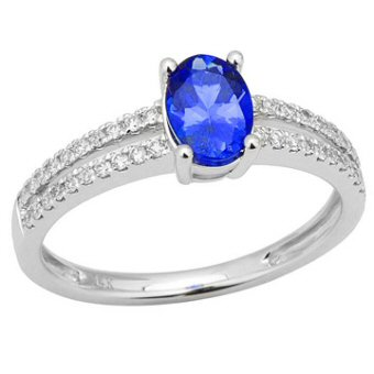 14k White Gold .20ctw Diamond .95ct Tanzanite Ring